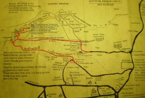 Carte ascension Sibayak