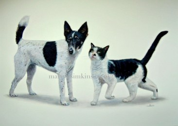 "'Dizzie & Ted' Fox Terrier & Cat is a large 20""x30"" Watercolour pet portrait. Striking in that both dog and cat are black & white and the best of friends. The captured moment is of the cat 'Ted' nestling his head into the dog 'Dizzie's' neck."