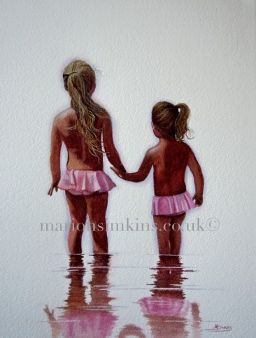 Original watercolour painting of two sister's holding hand in the sea depicted by their reflections in the water. Blonde hair in ponytails and matching pink bathing suits