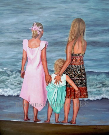 An Oil painting of three sisters standing with their backs to the viewer gazing out to sea standing barefoot at the waters edge. All three sister's have beautiful coloured dresses, in baby pink, turquoise green, orange and black aztec patterned.
