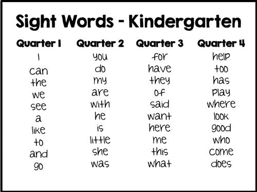Kindergarten / Sight Words