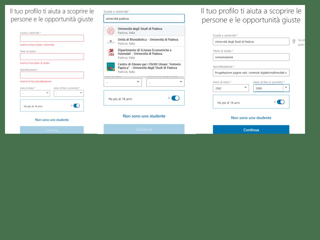 schermate per iscriversi a linkedin come studente