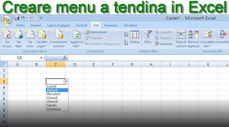 fare menu a tendina in Excel