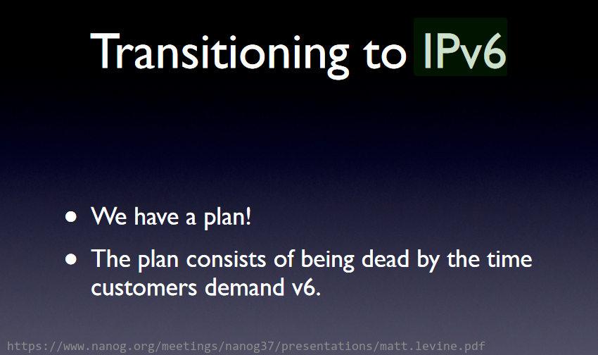 IPv6 transition plan