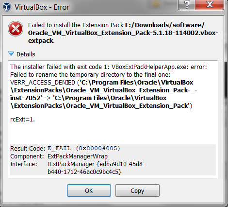 "VirtualBox: The Quick Solution to ""Extension Pack Installer Failed"