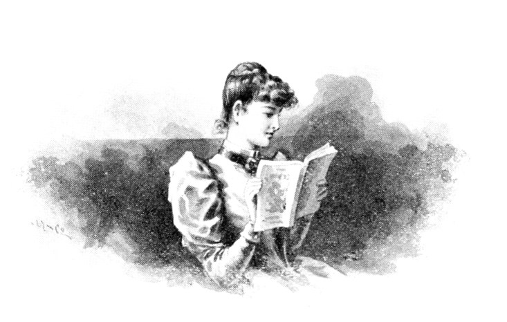 An illustration of a Victorian lady reading a book.