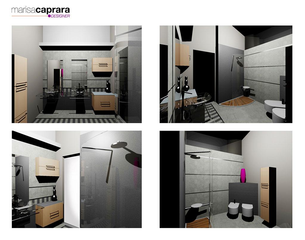 Progetti d arredo bagno in 3d marisa caprara designer for Progetti d arredo