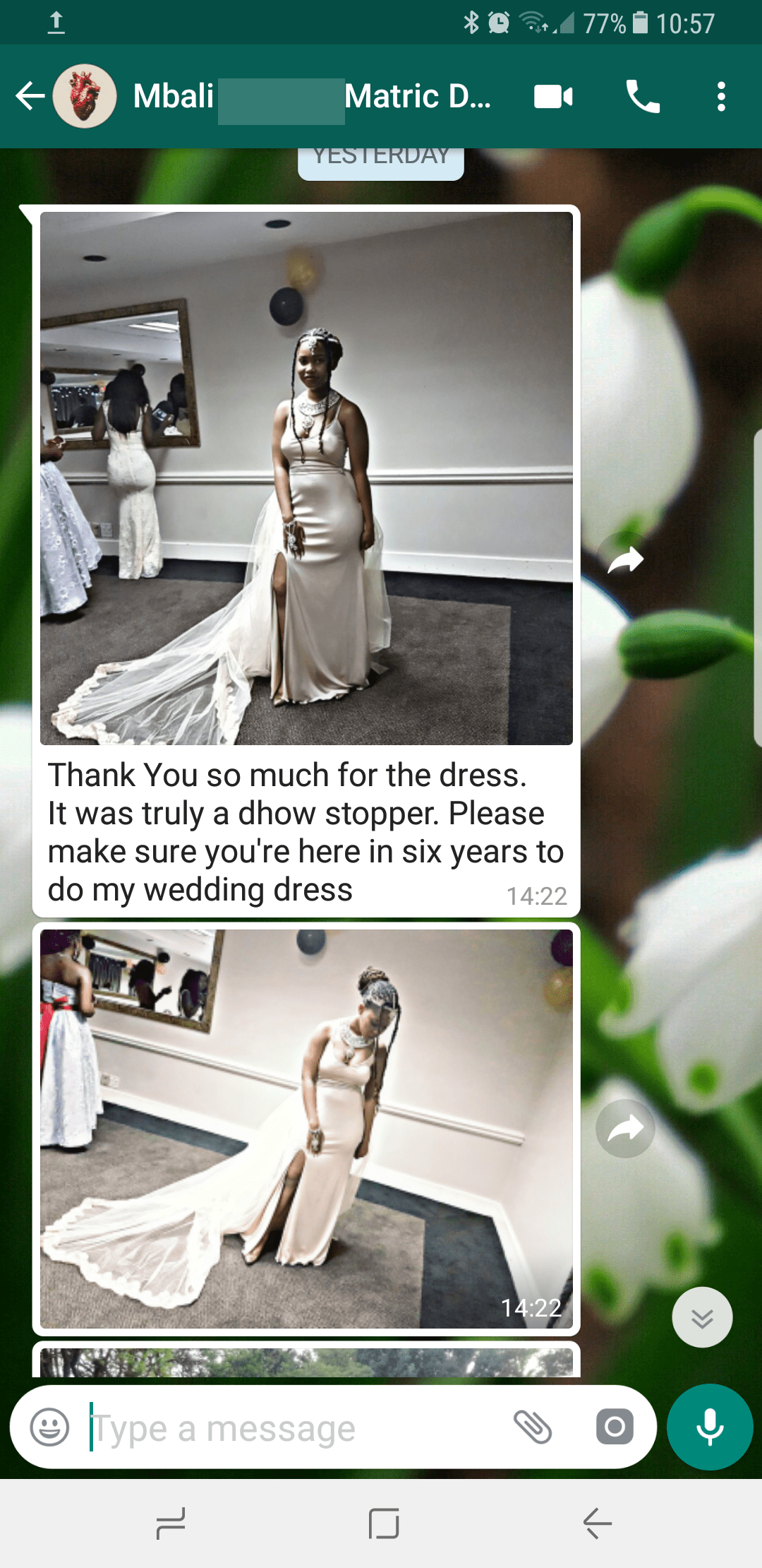 Mbali, a private client of Marisela Veludo's gives feedback for her long, champagne, evening dress with a long tulle train, finished with lace, which was custom designed and made by Marisela Veludo.  To view all of Marisela's reviews & feedback, you can go to feedback. To see more of Marisela's work, you can go to Passion4Fashion.