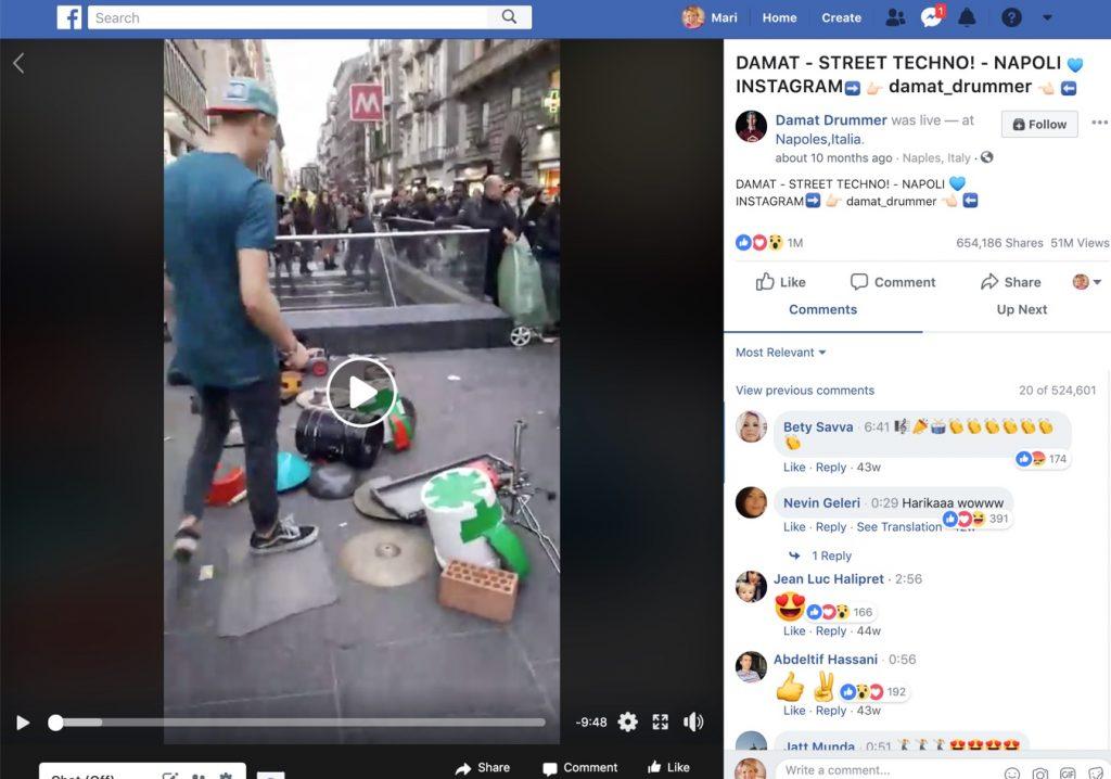 Facebook Live video example - Damat Drummer
