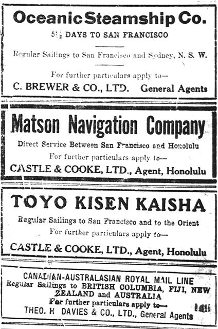100 Years Ago – Mail to and from Hawai'i – MARITIME HAWAI'I
