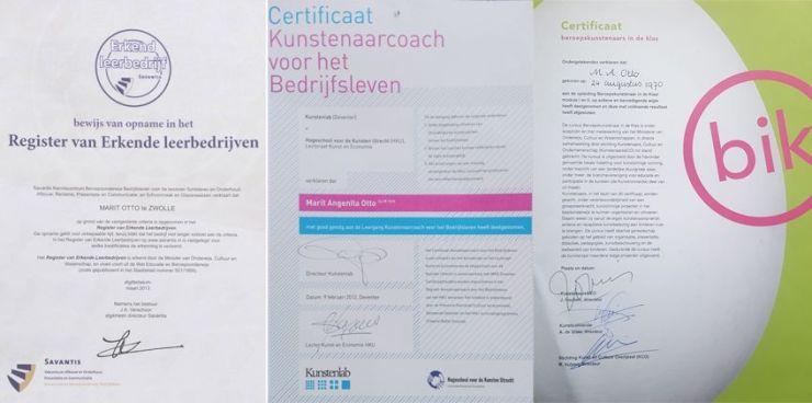 Erkent leerbedrijf, BIK (beroepskunstenaar voor de klas) Kunstenaar Coach en overige Kunstenaar & Co- diverse certificaten
