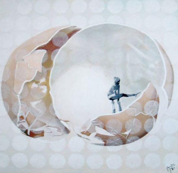 Fragile. Acryl op doek., 100/100 cm