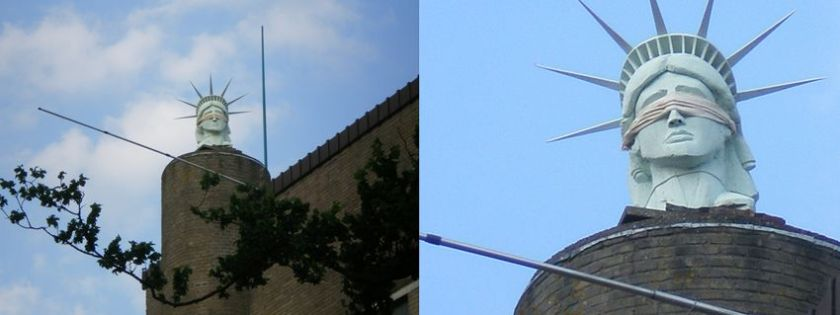 Na een aantal jaren in opslag heeft het hoofd van onze blinde Liberty weer een plek gevonden op het dak van De Oude Ambachtsschool (DOAS)