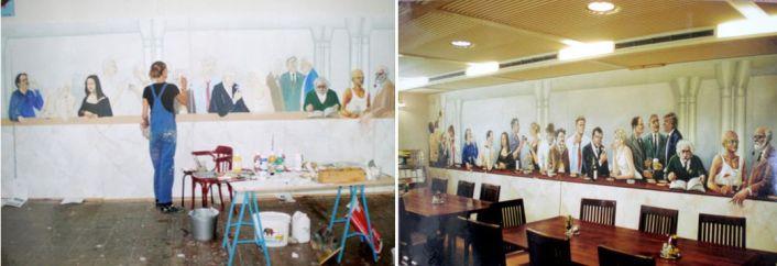 Hier zie je mij aan het werk in mijn atelier aan de Mimosastraat en rechts het totaal beeld.