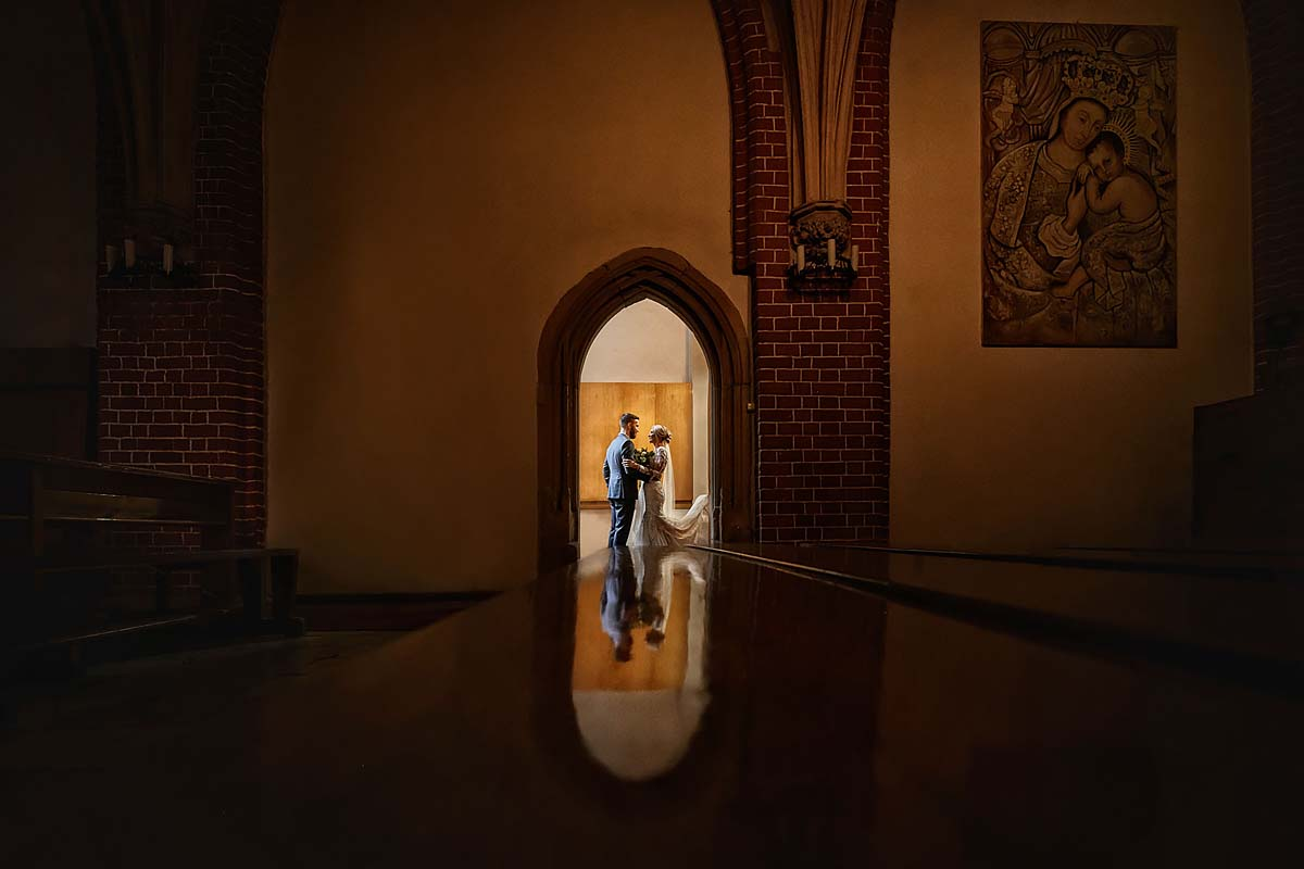wedding couple in the church