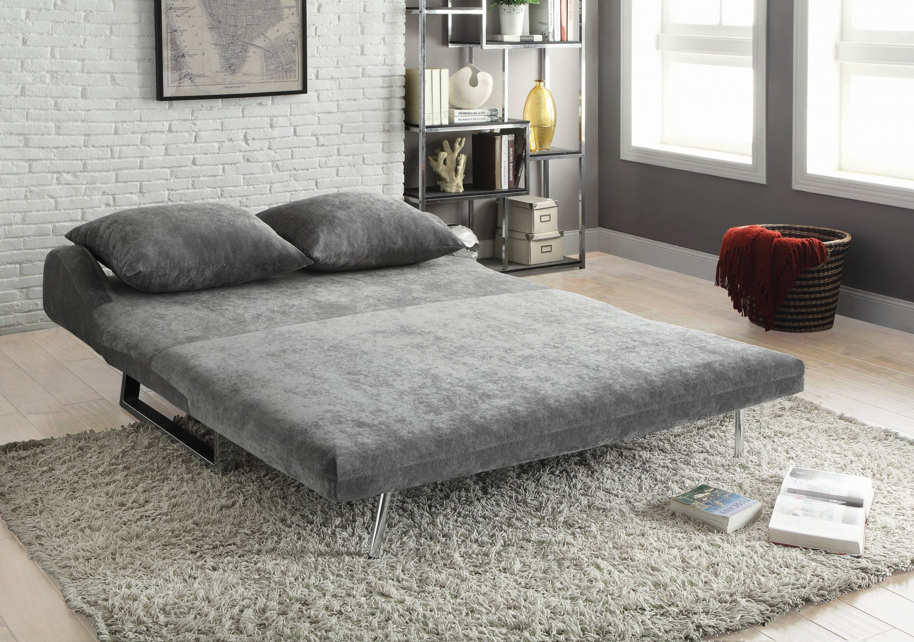 CONTEMPORARY GREY SOFA BED Converts from Sofa to Chaise