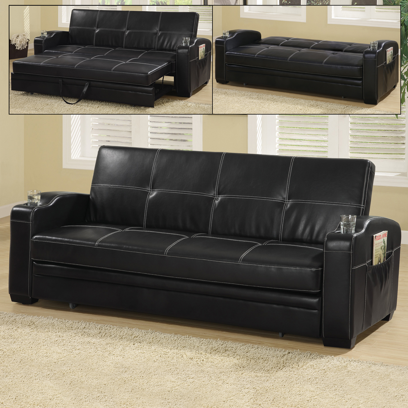 leather sofas chicago area french style linen sofa faux bed with storage and cup holders