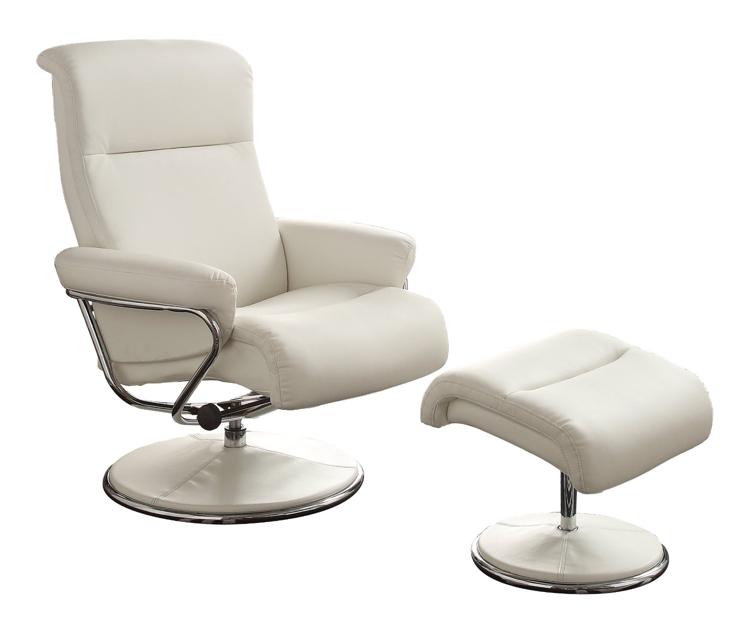 leather swivel recliner chair and ottoman banquet chairs covers homelegance caius reclining w in white