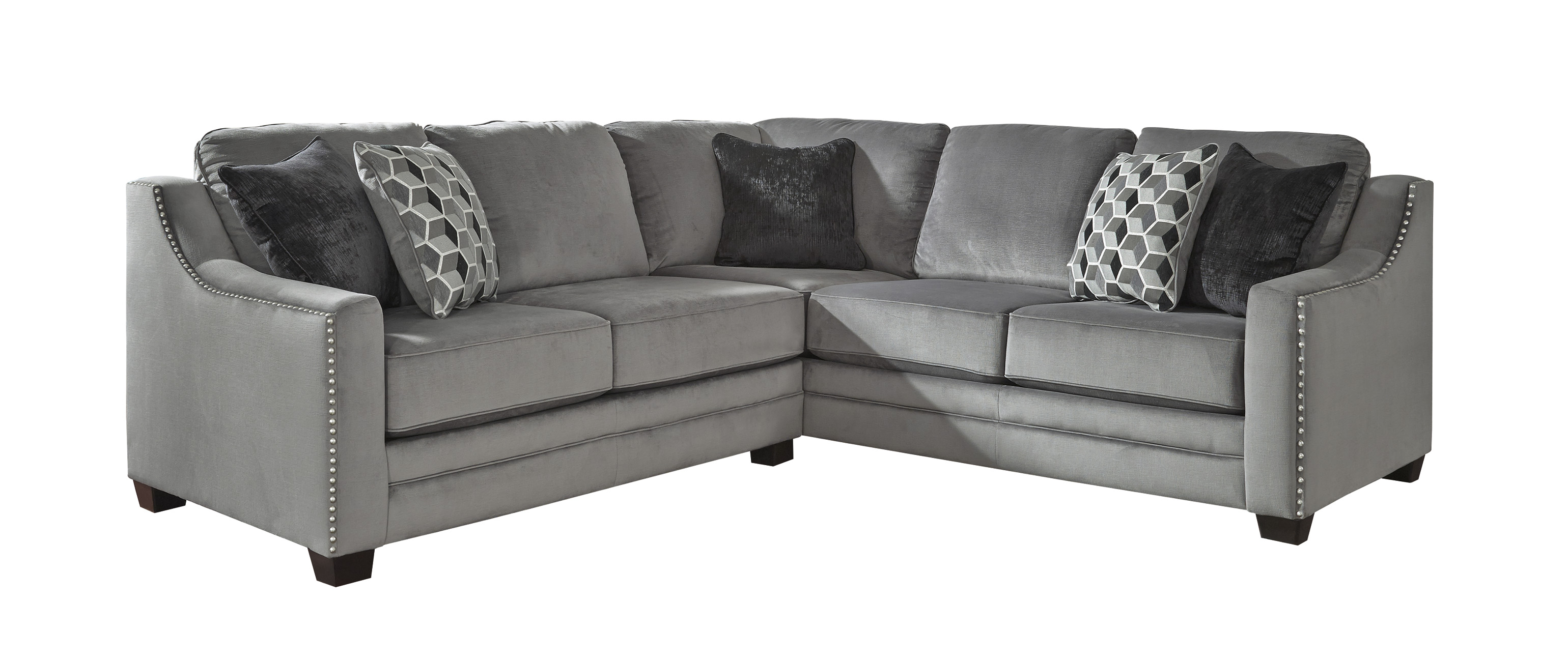 sectional sofa corner wedge c shaped table for bicknell charcoal 2 pc with left arm facing