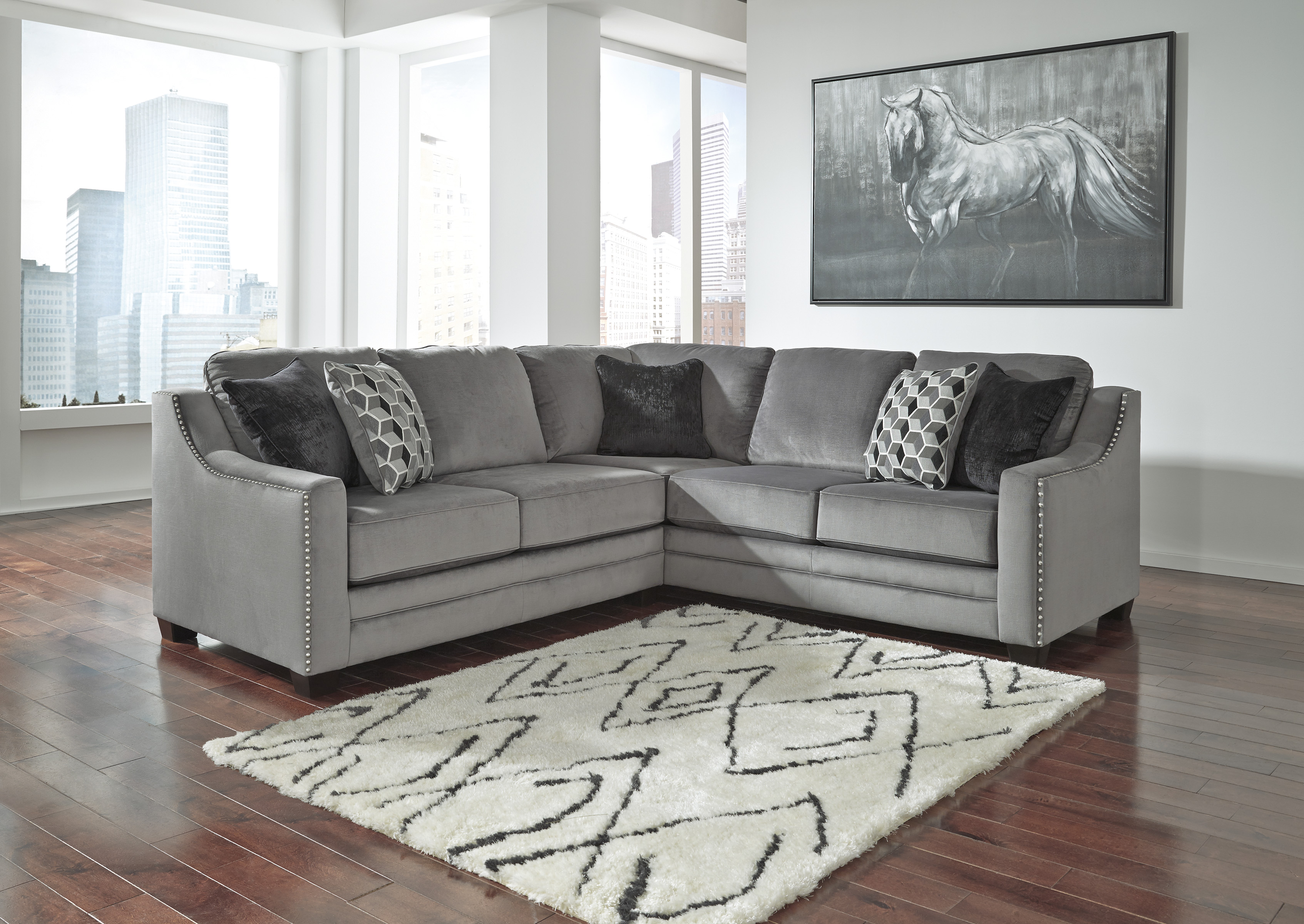 Bicknell Charcoal 2PC Sectional Sofa with Left Arm Facing