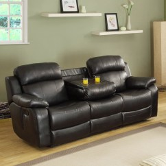 Black Reclining Sofa With Console Donghia Toulouse Homelegance Marille Double W Center Drop
