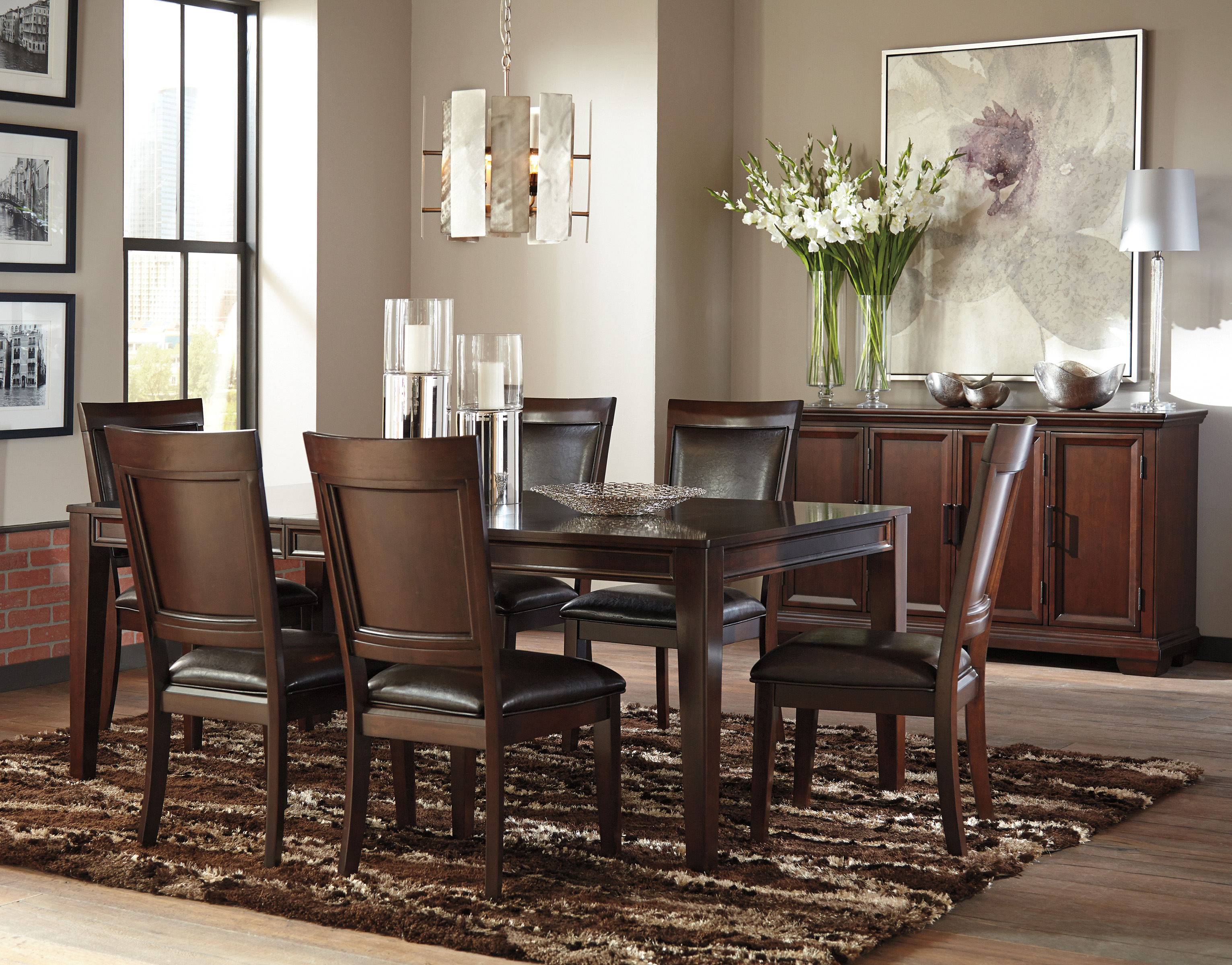kitchen table with leaf insert classics denver ashley shadyn 7 piece casual dining room set in a warm
