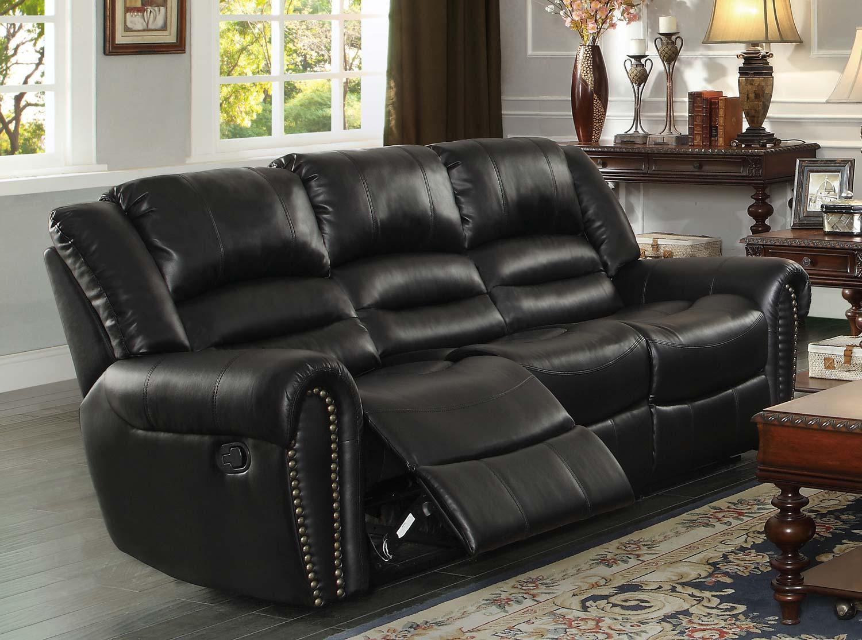 black leather sofa with nailheads moroso redondo center hill double reclining nailhead in bonded