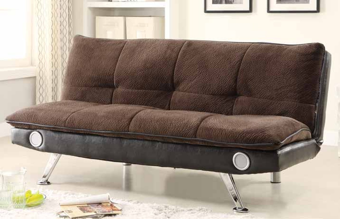 sofa sleeper chicago seth genuine leather power reclining review braxton brown bed with bluetooth connectivity
