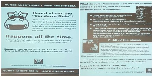 The AANA says that anesthesiologists don't take call and won't give epidurals without cash upfront