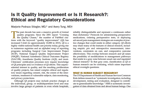 ethics of quality improvement projects or research in healthcare
