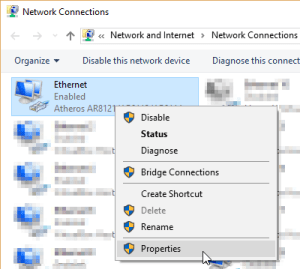 Ethernet adapter properties