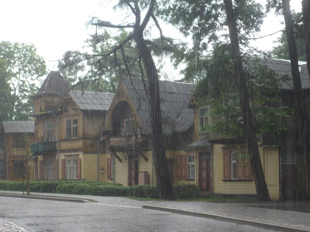 Beautiful wooden houses, melancholy in the rain