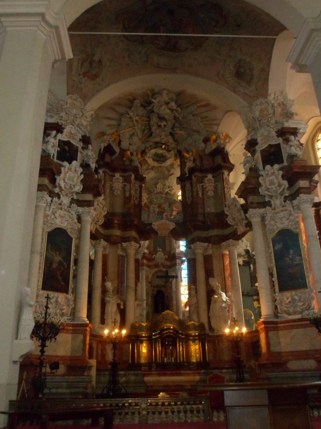 A Baroque church, where someone was playing the organ - it was an amazing sound
