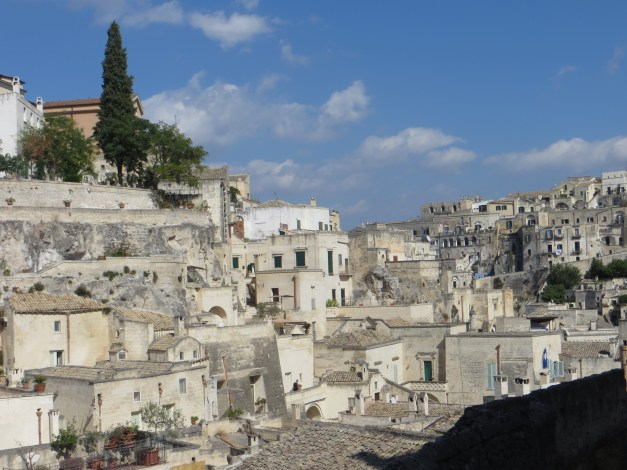 """This is the view of the """"Sassi"""" from the terrace where we ate lunch. Seriously, that was our view."""