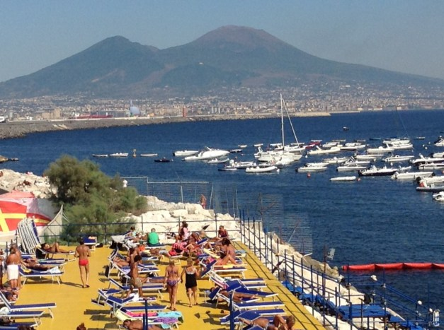 Mt. Vesuvius looms over the Bay of Naples