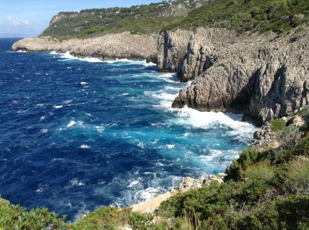 The rocky coast along the western edge