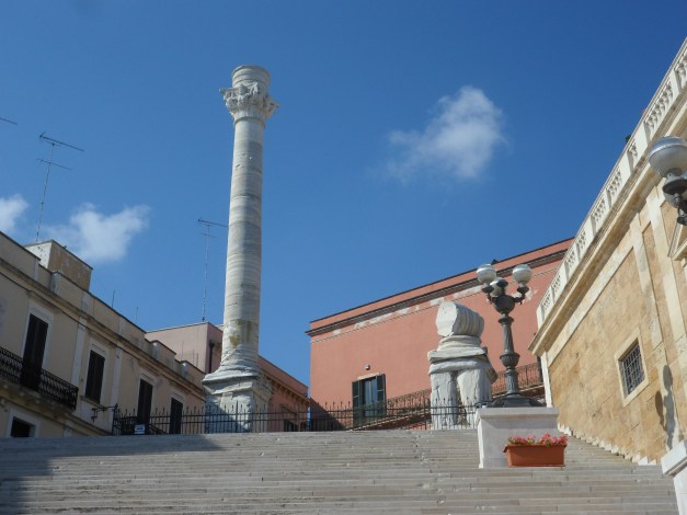 Two ancient columns marked the end of the Appian Way, the road from Rome to Brindisi. 1n 1666, the town gave the second column to neighboring Lecce for helping save Brindisi from with the plague.