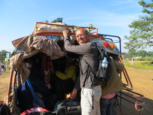 Jim gets into position for our journey from the Plateau to the Mekong town of Pakse
