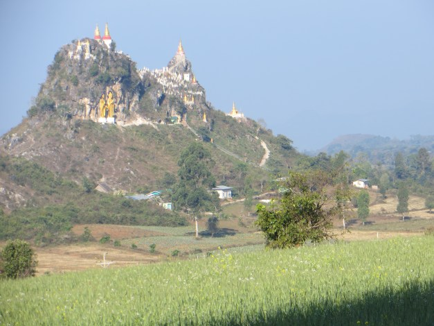 I felt as though I was on the Yellow Brick Road on the way to Oz when I rounded a corner and saw this. Everywhere you look here there are Buddhist stupas built on the top of hills.