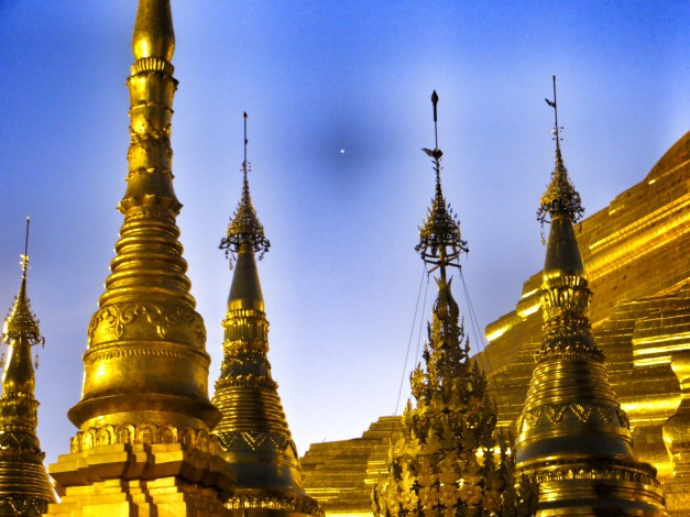 Some of the many spires of Shwedagon Pagoda, one of the most stunning temple complexes I've seen anywhere