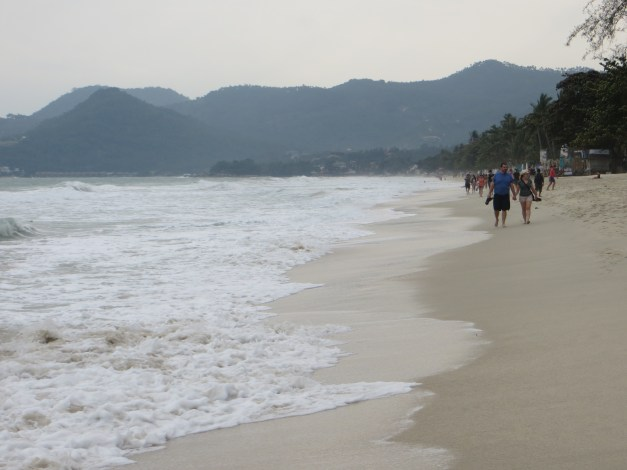 Chaweng Beach is the main beach on the island. Big and beautiful but unfortunately not beach weather this day.