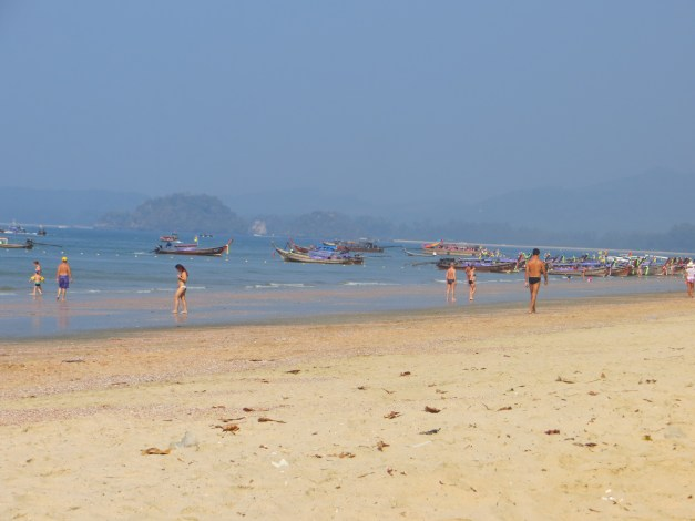 Ao Nang with the tide out. A lot of barren-ness and it's all but impossible to go out far enough to be in deep water.