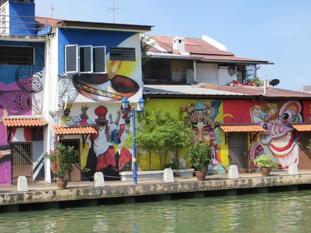 Buildings along the river walk have all been painted and highly decorated.