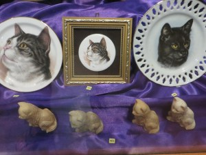 "A small sampling of the numerous ""artifacts"" at the Cat Museum"