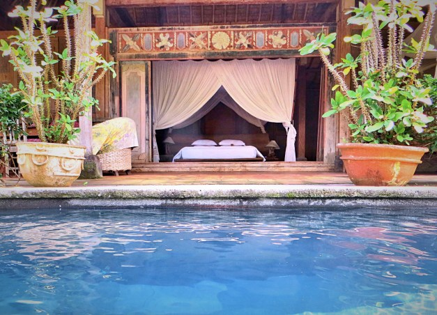 Our bedroom, opening onto our private pool