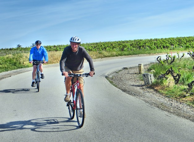 Mark biking on down towards Avignon, with 79-year-old Paul keeping pace. Did I mention how impressed I was with a 79-year-old biking with us?!?