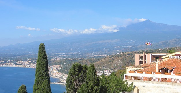 The view from our balcony -- the Mediterranean to the left, Mount Etna to the right