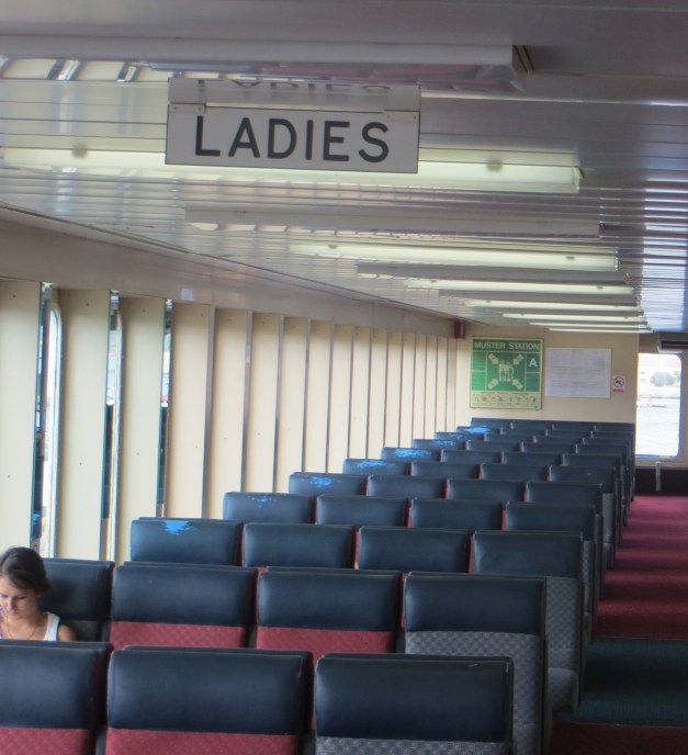 This was totally bizarre - separate Ladies and Gentlemen areas on the ferry boat from La Maddalena to Sardinia.