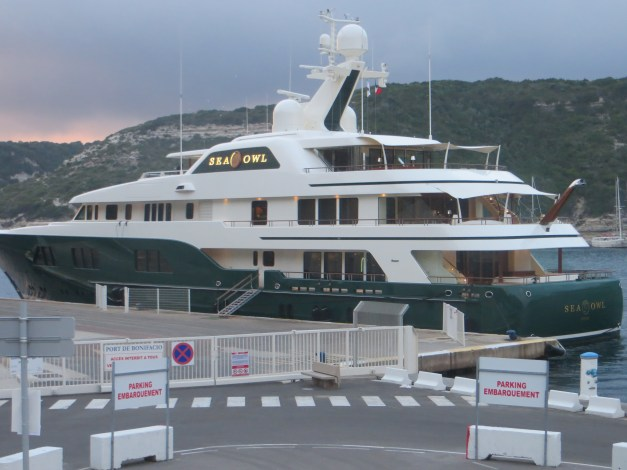 The super yacht Sea Owl was tied up in the marina in Bonifacio. I don't know how much it cost, but it has a crew of 18 and the guy who owns it is a hedge fund CEO who made something over $200 million in 2011 and 2012. Nothing like hanging around places like this to make you feel poor...