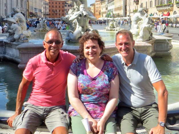 Dara poses with us at Piazza Navona. She and I like bright colors more than Mark does...